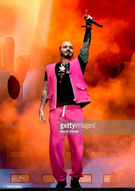 Balvin performs at Coachella Stage during the 2019 Coachella Valley Music And Arts Festival on April 13 2019 in Indio California