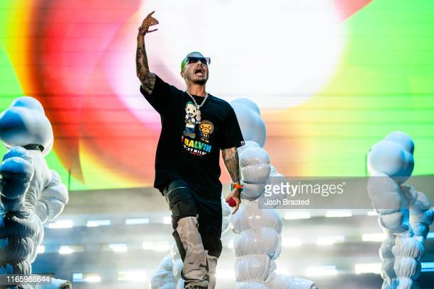 Balvin performs at the Lollapalooza Music Festival at Grant Park on August 03, 2019 in Chicago, Illinois.
