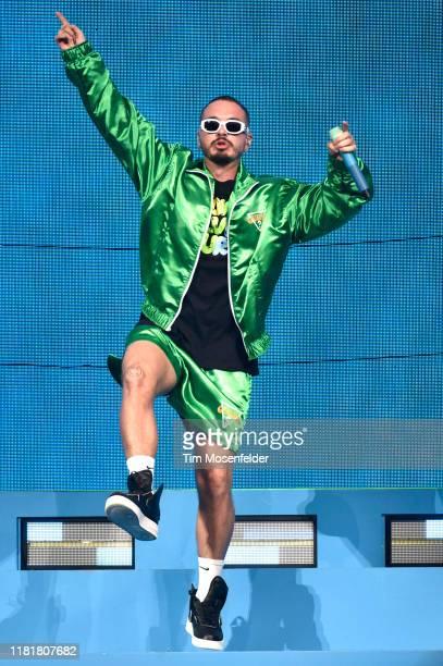 "Balvin performs during his ""Arcoiris"" tour at SAP Center on October 17, 2019 in San Jose, California."