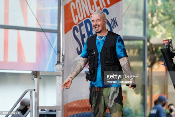 """Balvin performs on NBC's """"Today"""" at Rockefeller Plaza on August 27, 2021 in New York City."""