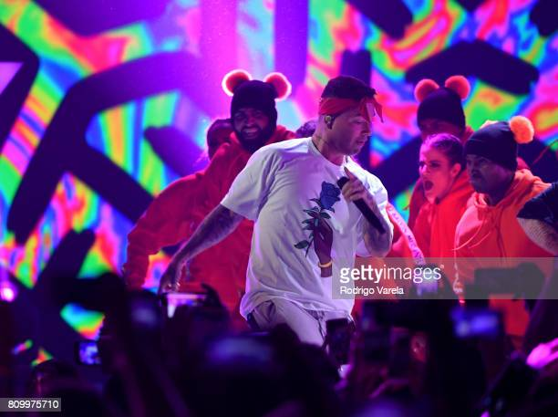 Balvin performs on stage during Univision's 'Premios Juventud' 2017 Celebrates The Hottest Musical Artists And Young Latinos ChangeMakers at Watsco...