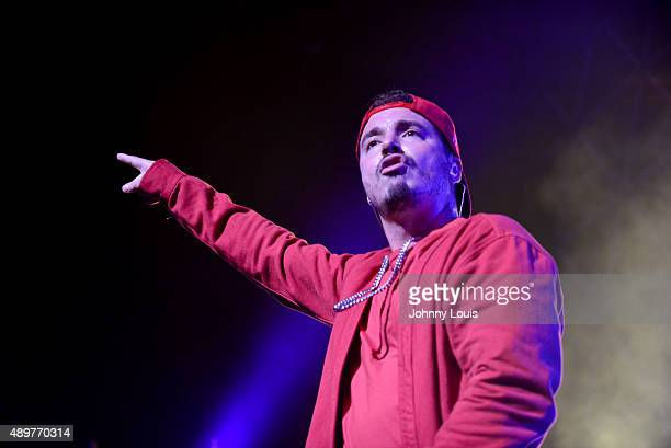 """Balvin performs onstage during """" Mi Familia"""" tour at James L Knight Center on September 23, 2015 in Miami, Florida."""