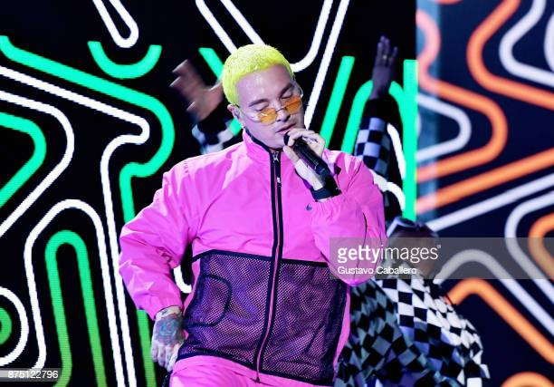 Balvin performs onstage during The 18th Annual Latin Grammy Awards at MGM Grand Garden Arena on November 16 2017 in Las Vegas Nevada