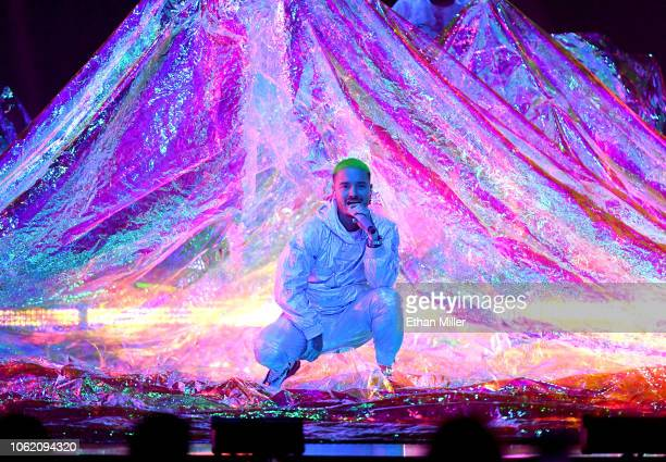 Balvin performs onstage during the 19th annual Latin GRAMMY Awards at MGM Grand Garden Arena on November 15 2018 in Las Vegas Nevada