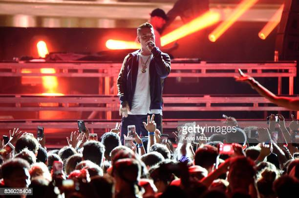 J Balvin performs with Major Lazer during Day Two of 2017 Billboard Hot 100 Festival at Northwell Health at Jones Beach Theater on August 20 2017 in...