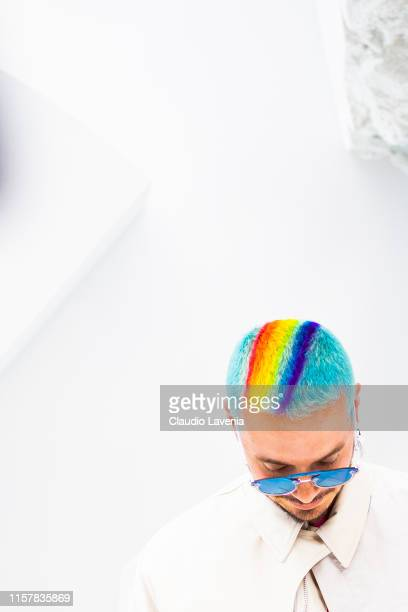 Balvin rainbow hair detail is seen during the Dior Homme Menswear Spring Summer 2020 show on June 21 2019 in Paris France