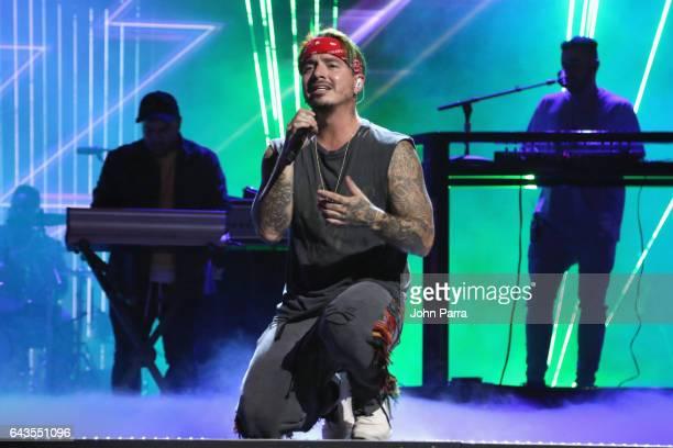 Balvin rehearses on stage at Univision's 29th Edition Of Premio Lo Nuestro A La Musica Latina Rehearsals Day 2 on February 21 2017 in Miami Florida