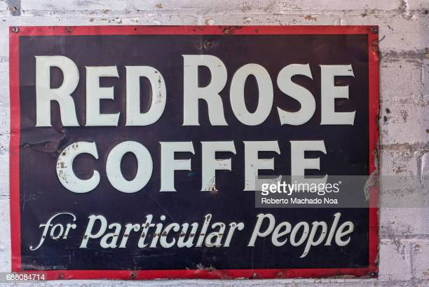 Balzac's Coffee Roasters interior details Old Red Rose Coffee sign decorating the shop interior The coffee shop is located in the Distillery District...