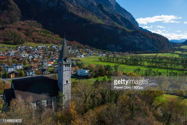 balzers church - principality of liechtenstein stock pictures, royalty-free photos & images