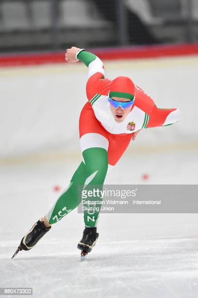 Balázs Kun of Hungary performs during the Men 1500 Meter at the ISU ISU Junior World Cup Speed Skating at Max Aicher Arena on November 26 2017 in...