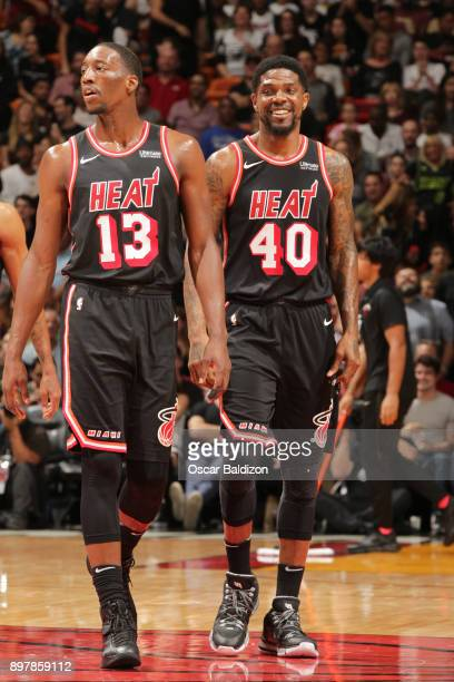 Bam Adebayo and Udonis Haslem of the Miami Heat during the game against the New Orleans Pelicans on December 23 2017 at American Airlines Arena in...