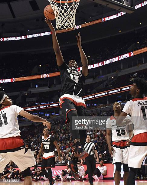 Bam Adebayo of the East team goes to the basket against the West team during the 2016 McDonalds's All American Game on March 30 2016 at the United...