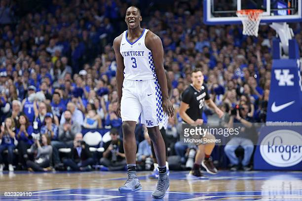Bam Adebayo of the Kentucky Wildcats celebrates against the South Carolina Gamecocks during the first half at Rupp Arena on January 21 2017 in...