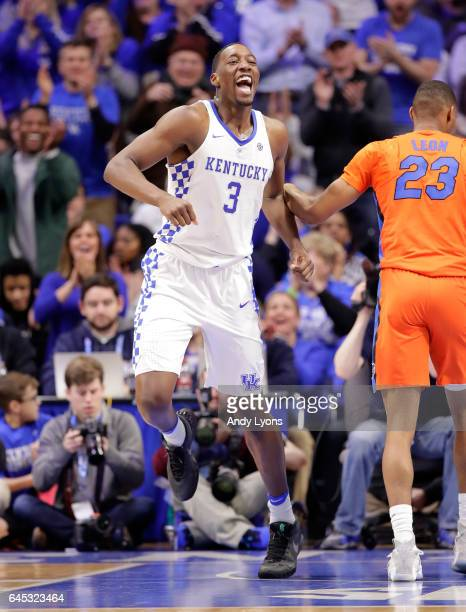 Bam Adebayo of the Kentucky Wildcats celebrates during the game against the Florida Gators at Rupp Arena on February 25 2017 in Lexington Kentucky