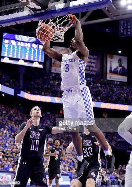Bam Adebayo of the Kentucky Wildcats dunks the ball during the game against the Stephen F Austin Lumberjacks at Rupp Arena on November 11 2016 in...
