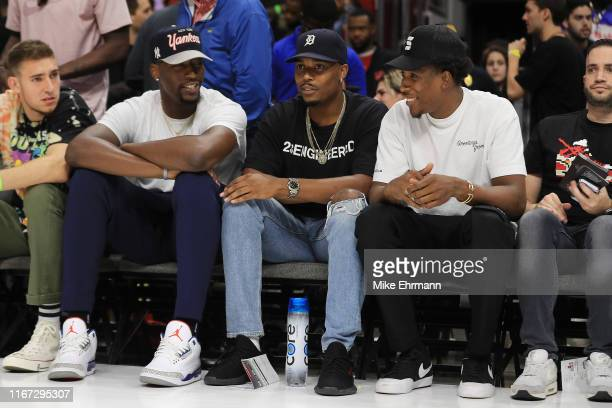 Bam Adebayo of the Miami Heat and Josh Richardson of the Philadelphia 76ers look on courtside during week eight of the BIG3 three on three basketball...