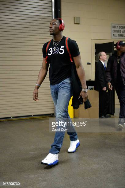 Bam Adebayo of the Miami Heat arrives before the game against the Philadelphia 76ers in Game One of Round One of the 2018 NBA Playoffs on April 14...