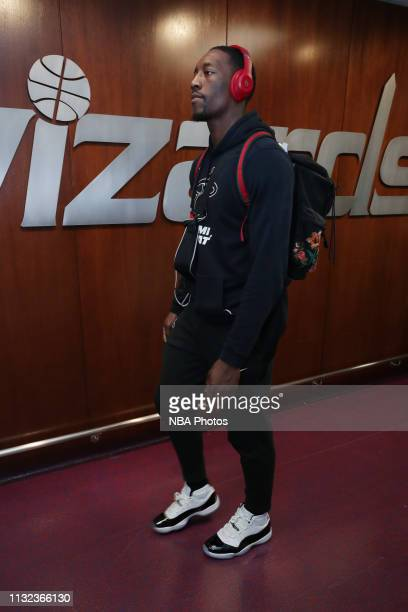 Bam Adebayo of the Miami Heat arrives to the arena prior to the game against the Washington Wizards on March 23 2019 at Capital One Arena in...