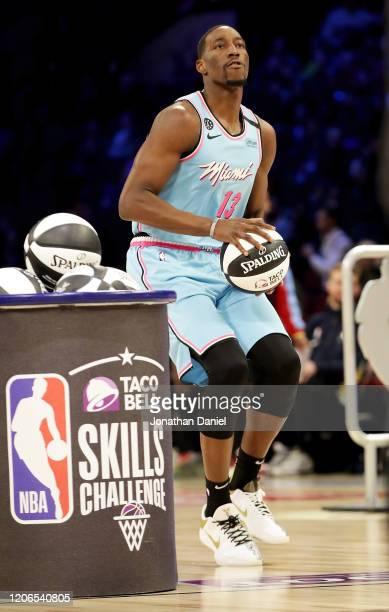 Bam Adebayo of the Miami Heat attempts a shot in the 2020 NBA AllStar Taco Bell Skills Challenge during State Farm AllStar Saturday Night at the...