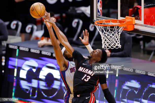 Bam Adebayo of the Miami Heat blocks a shot by Jerami Grant of the Detroit Pistons during the fourth quarter at American Airlines Arena on January...