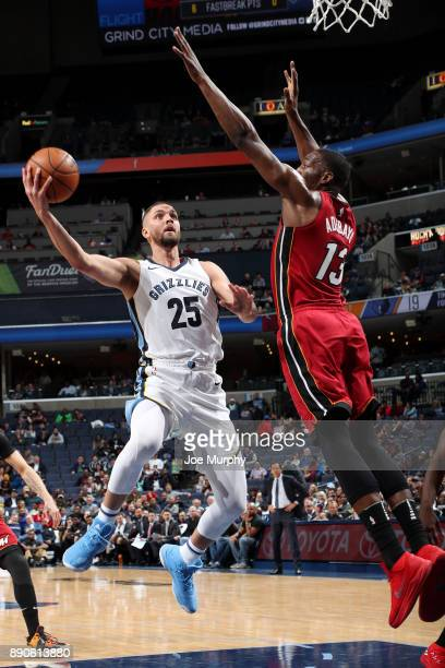 Bam Adebayo of the Miami Heat blocks the shot of Chandler Parsons of the Memphis Grizzlies on December 11 2017 at FedExForum in Memphis Tennessee...