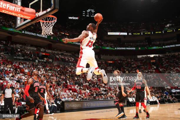 Bam Adebayo of the Miami Heat drives to the basket during the game against the Chicago Bulls on March 29 2018 at American Airlines Arena in Miami...
