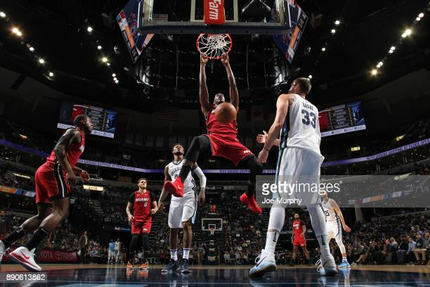 Bam Adebayo of the Miami Heat dunks against the Memphis Grizzlies on December 11 2017 at FedExForum in Memphis Tennessee NOTE TO USER User expressly...