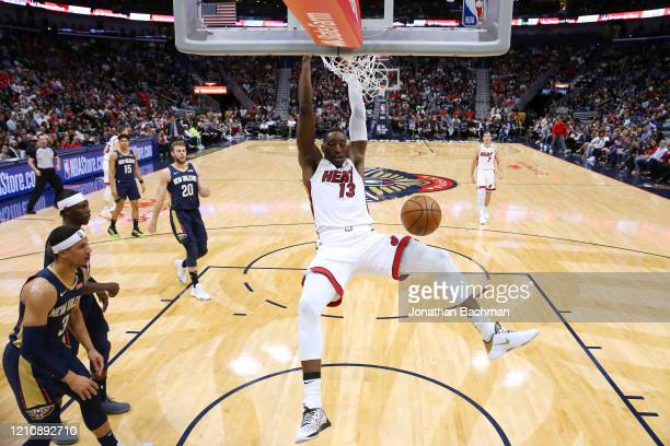 Bam Adebayo of the Miami Heat dunks during a game against the New Orleans Pelicans at the Smoothie King Center on March 06, 2020 in New Orleans,...