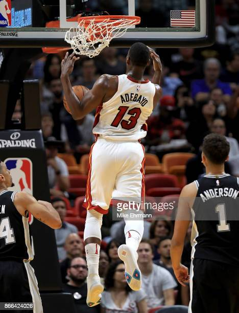 Bam Adebayo of the Miami Heat dunks during a game against the San Antonio Spurs at American Airlines Arena on October 25 2017 in Miami Florida NOTE...