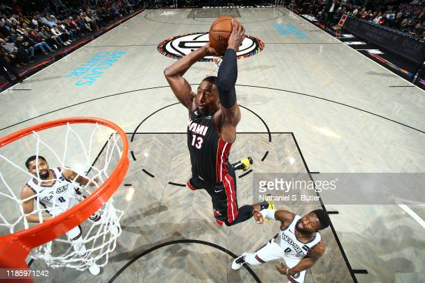 Bam Adebayo of the Miami Heat dunks the ball against the Brooklyn Nets on December 1 2019 at Barclays Center in Brooklyn New York NOTE TO USER User...