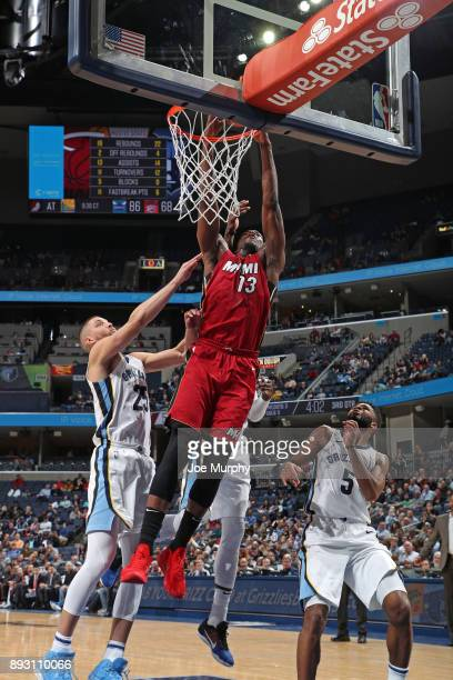 Bam Adebayo of the Miami Heat dunks the ball against the Memphis Grizzlies on December 11 2017 at FedExForum in Memphis Tennessee NOTE TO USER User...