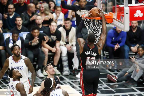 Bam Adebayo of the Miami Heat dunks the ball during a game at the Staples Center on February 5 2020 in Los Angeles CA NOTE TO USER User expressly...