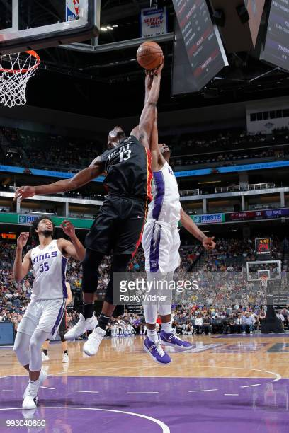 Bam Adebayo of the Miami Heat gets control of the ball against the Sacramento Kings during the 2018 Summer League at the Golden 1 Center on July 5...