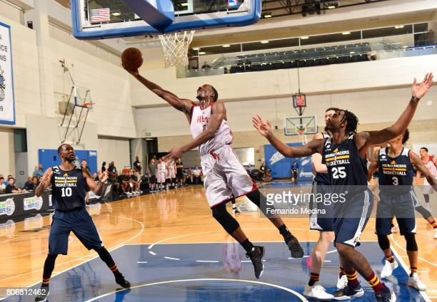 Bam Adebayo of the Miami Heat goes for a lay up against the Indiana Pacers on July 3 2017 during the 2017 Summer League at Amway Center in Orlando...