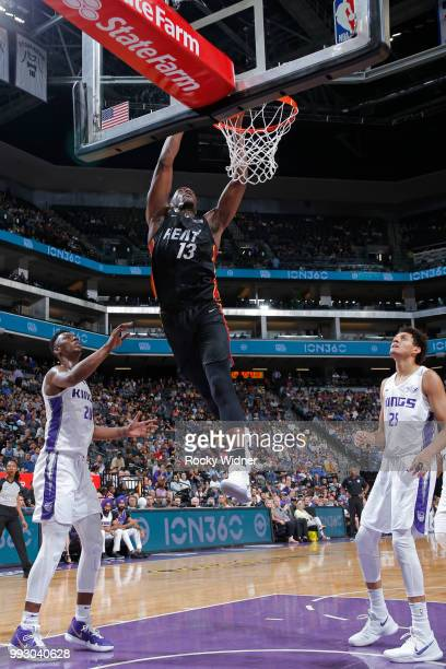 Bam Adebayo of the Miami Heat goes to the basket against the Sacramento Kings during the 2018 Summer League at the Golden 1 Center on July 5 2018 in...