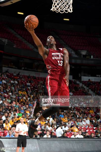 Bam Adebayo of the Miami Heat goes to the basket against the Washington Wizards on July 10 2017 at the Thomas Mack Center in Las Vegas Nevada NOTE TO...