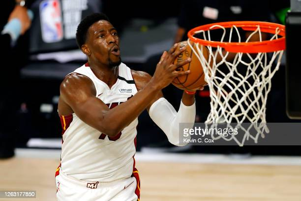 Bam Adebayo of the Miami Heat goes up for a missed shot against the Denver Nuggets at HP Field House at ESPN Wide World Of Sports Complex on August...