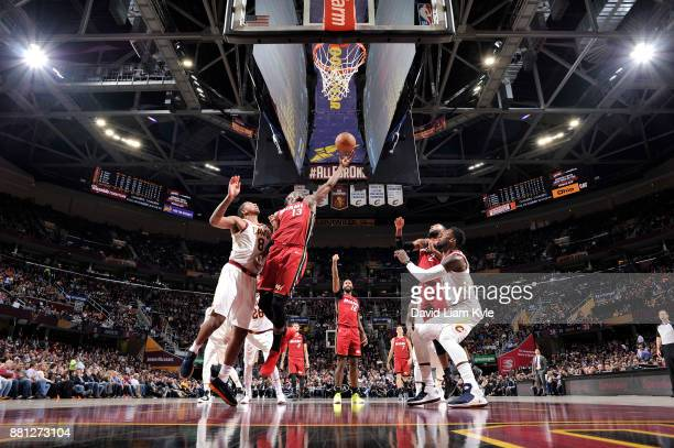 Bam Adebayo of the Miami Heat goes up for a rebound against the Cleveland Cavaliers on November 28 2017 at Quicken Loans Arena in Cleveland Ohio NOTE...