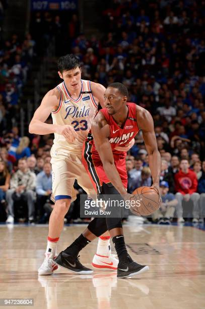 Bam Adebayo of the Miami Heat handles the ball against the Philadelphia 76ers in Game Two of Round One of the 2018 NBA Playoffs on April 16 2018 at...
