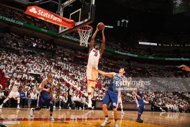 Bam Adebayo of the Miami Heat handles the ball against the Philadelphia 76ers in Game Three of Round One of the 2018 NBA Playoffs on April 19 2018 at...