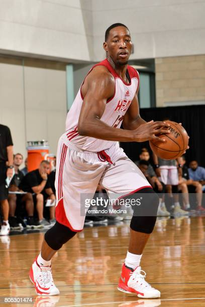 Bam Adebayo of the Miami Heat handles the ball against the Charlotte Hornets during the 2017 Summer League on July 1 2017 at Amway Center in Orlando...