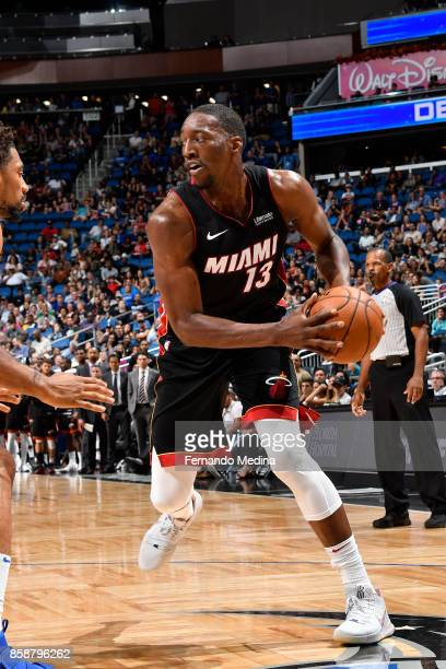 Bam Adebayo of the Miami Heat handles the ball against the Orlando Magic during a preseason game on October 8 2017 at Amway Center in Orlando Florida...
