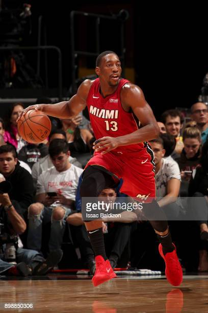 Bam Adebayo of the Miami Heat handles the ball against the Orlando Magic on December 26 2017 at American Airlines Arena in Miami Florida NOTE TO USER...