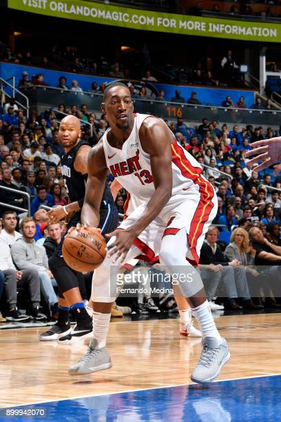 Bam Adebayo of the Miami Heat handles the ball against the Orlando Magic on December 30 2017 at Amway Center in Orlando Florida NOTE TO USER User...