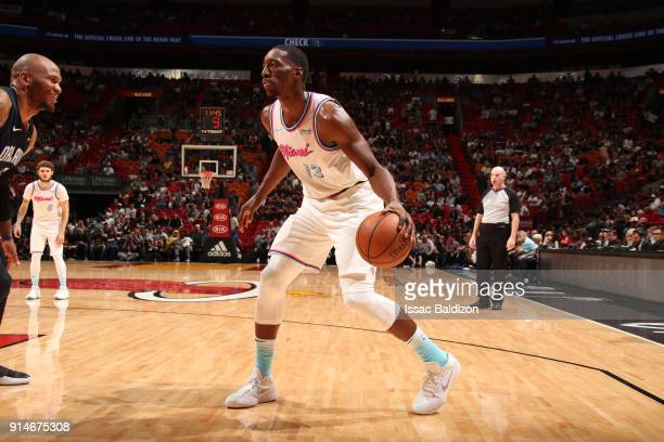 Bam Adebayo of the Miami Heat handles the ball against the Orlando Magic on February 5 2018 at American Airlines Arena in Miami Florida NOTE TO USER...