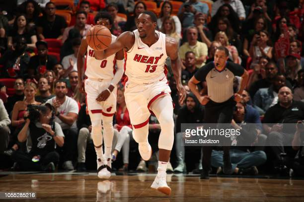 Bam Adebayo of the Miami Heat handles the ball against the Sacramento Kings on October 29 2018 at American Airlines Arena in Miami Florida NOTE TO...