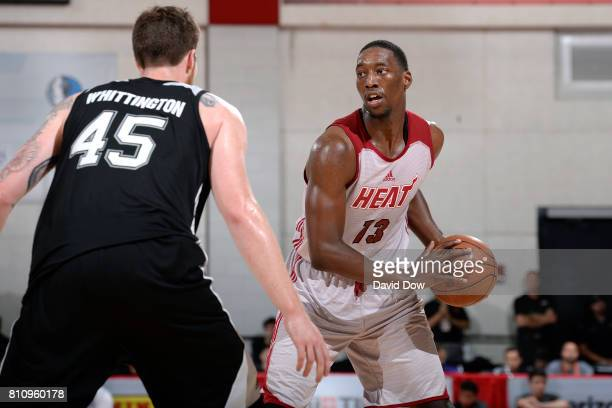 Bam Adebayo of the Miami Heat handles the ball against the San Antonio Spurs during the 2017 Las Vegas Summer League on July 8 2017 at the Cox...