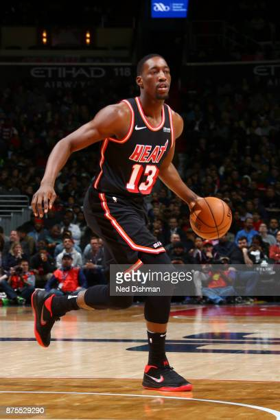 Bam Adebayo of the Miami Heat handles the ball against the Washington Wizards on November 17 2017 at Capital One Arena in Washington DC NOTE TO USER...