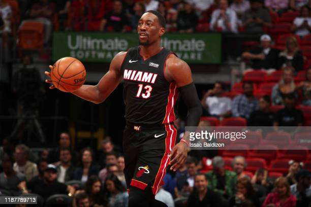 Bam Adebayo of the Miami Heat handles the ball during a game against the Atlanta Hawks on December 10 2019 at American Airlines Arena in Miami...