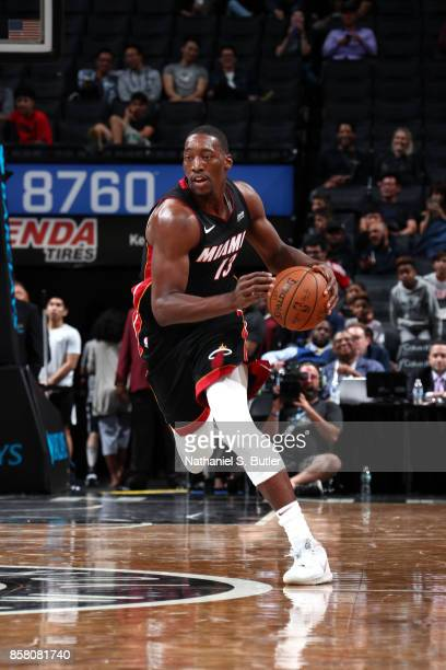 Bam Adebayo of the Miami Heat handles the ball during the game against the Brooklyn Nets during a preseason game on October 5 2017 at Barclays Center...